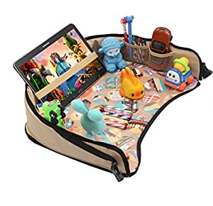 "DMoose Toddler Car Seat Travel Tray (16"" x 14"") – Toy Organizer, Tablet Holder, Reinforced Surface, Sturdy Base & Side Walls, Strong Buckles, Crayon Organizer, Mesh Pockets – Waterproof"