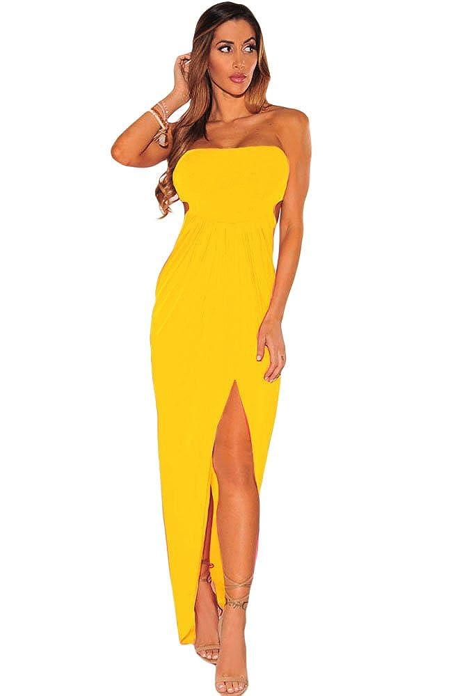 Helanas Secret - Vestido - sujetador bandeau - para mujer amarillo Mostaza 42 / 44: Amazon.es: Ropa y accesorios