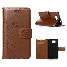 MOONCASE Galaxy Alpha Wallet Case Flower Pattern Premium PU Leather Case for Samsung Galaxy Alpha G850 Bookstyle Soft TPU [Shock Absorbent] Flip Bracket Cover Brown