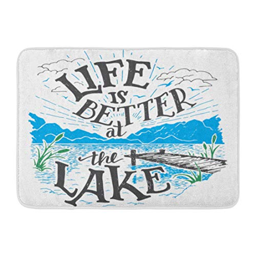 Emvency Doormats Bath Rugs Outdoor/Indoor Door Mat Life is Better at The Lake House Sign in Vintage for Rustic Wall Lakeside Living Cabin Cottage Hand Bathroom Decor Rug Bath Mat 16