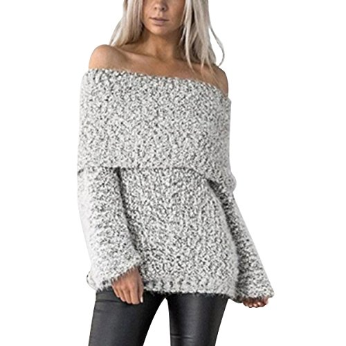 Swagger Knit (NE Norboe Women's Swagger Off Shoulder Knit Pullover Loose Casual Sweater Jumpers (M, Silver))