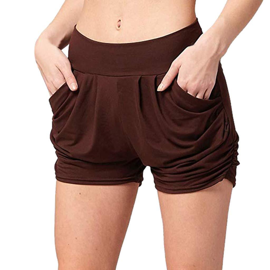 BAOHOKE Casual Fashion Women's Pocket Harem Shorts,Summer Cozy Elastic Band Stretch Pants(Brown,XL)
