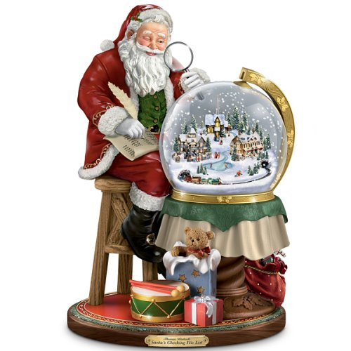 Thomas Kinkade Santa's Checking His List Musical Sculpture With Swirling Snow