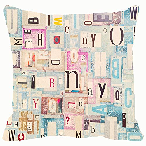 Throw Pillow Covers Colorful Grunge Cutout Newspaper Letters Cotton Linen Cushion Cover Cases Pillowcases Sofa Home Decor 18