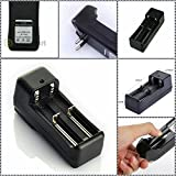Supermall Universal Dual Battery Charger Batteries and A Charger, 18650 Li-ion 3.7V - Applicable for High-power LED- Black Color