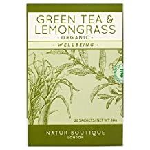 Natur Boutique Organic Green Tea with Lemongrass 20 per pack (Pack of 2)