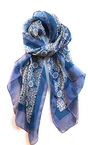 Z&HTrends Womens Genuine Silk Scarf (Small, Morocco Blue Serene)