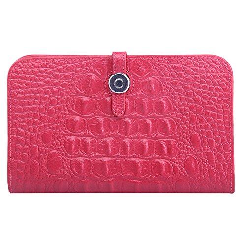 WTUS Mujer Carteras De Cuero Moda Ocio Para Tarjeta de Crédito Dinero y Carnet ID para Mujer Rojo