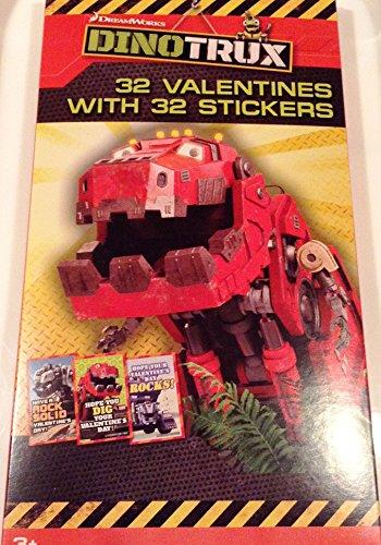 DinoTrux 32 Valentines Stickers