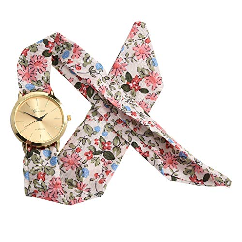 Sodoop Women Floral Cloth Quartz Glass Dial Bracelet Wristwatch Watch, Fashion Sweet Girl Dress Printing Flower Cloth Design Watches,Summer Gift