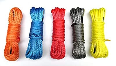 Five Color 6400lbs Strong Durable Synthetic Fiber Winch Rope for Car SUV ATV UTV KFI -50' x 1/4""