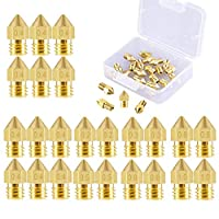 3D Printer Nozzle 24 Pieces Brass Extruder Nozzle Print Head 0.2mm, 0.3mm, 0.4mm, 0.5mm, 0.6mm, 0.8mm, 1.0mm Compatible with MK8 Makerbot Creality CR-10 M6 thread 3D printer, Come with a Storage Box by WanJi