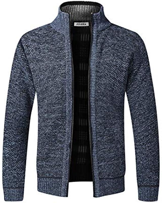 Jinsha Męska kurtka z dzianiny, gruby sweter, z zamkiem błyskawicznym na całej długości, stÓjka, ciepła, podszewka polarowa, płaszcz zimowy: Odzież
