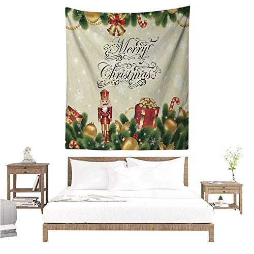 WilliamsDecor Hall Tapestry Christmas Noel Season Ornaments with Birch Branch Cute Ribbons Bells Candy Canes Art Image 70W x 84L INCH Suitable for Bedroom Living Room Dormitory