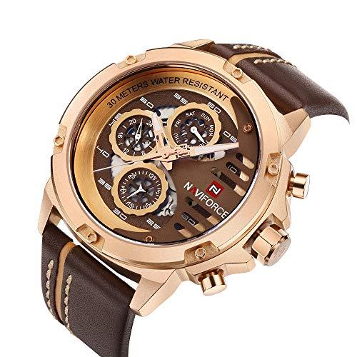NAVIFORCE Men Sport Watches Waterproof Military Quartz Leather Casual Date Calendar Wrist Watch Rose Gold