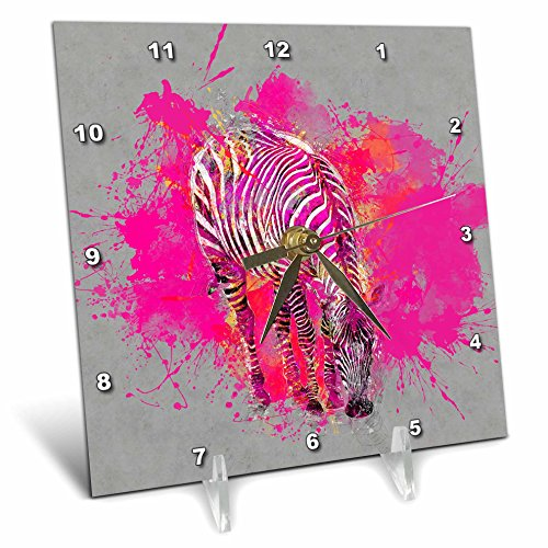 3dRose Andrea Haase Animals Illustration - Modern Artistic Zebra Illustration In Grey And Pink - 6x6 Desk Clock (dc_268131_1) by 3dRose