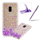 Rubber Case for Samsung Galaxy A8 2018,Herzzer Premium Stylish [Purple Hearts Printed] Scratch Resistant Ultra Thin Soft Gel Silicone Transparent Clear Crystal Slim Fit TPU Back Cover for Samsung Galaxy A8 2018