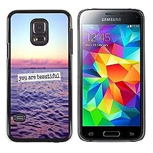 Caucho caso de Shell duro de la cubierta de accesorios de protección BY RAYDREAMMM - Samsung Galaxy S5 Mini, SM-G800, NOT S5 REGULAR! - Beautiful Ocean Sunset Sky Text