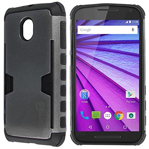 Moto G 3rd Gen Case, CoverON [Smart Armor Series] Slim Phone Cover Corner Bumper + Grip + Card Slot Case for Motorola Moto G 3rd Generation 2015 - Gray & Black