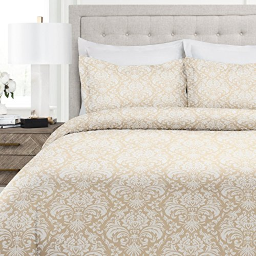 Italian Luxury Damask Pattern Duvet Cover Set - 3-Piece Ultra Soft Double Brushed Microfiber Printed Cover with Shams - Full/Queen - Cream/White (Cream Cover Full Duvet)