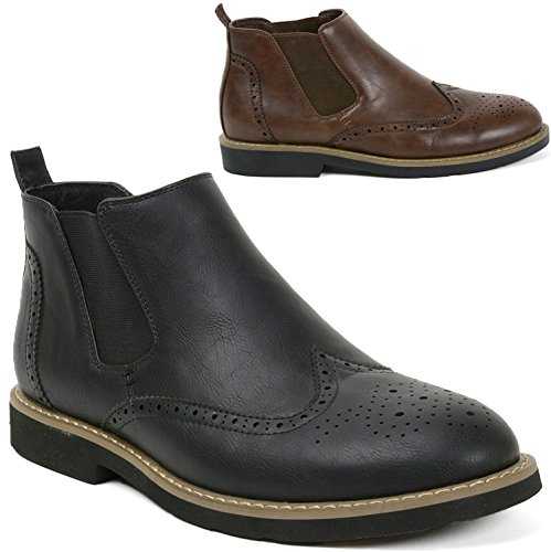 Alpine Swiss Mens Bulle Lined Wing Tip Chelsea Ankle Boots