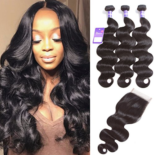 Bundle Care Hair (Faddishair Body Wave Bundles with Closure Brazilian Human Hair Bundles with Lace Closure 7A Unprocessed Virgin Hair Weave Bundles Natural Black(14