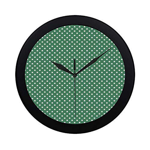 C COABALLA Green Circular Plastic Wall Clock,Old Fashioned Polka Dot Pattern on Green Background Classical Traditional Decorative for Home,9.65
