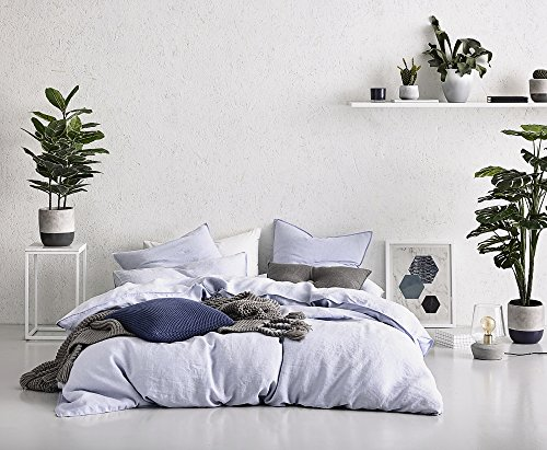 Washed Cotton Chambray Duvet Cover Solid Color Casual Modern Style Bedding Set Relaxed Soft Feel Natural Wrinkled Look (King, Lavender Mist)