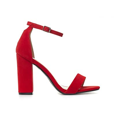 47fa61d4e13e Shoe Closet Ladies Bright Red Barely There Strappy Ankle Strap Sandals Peep  Toes Block High Heels