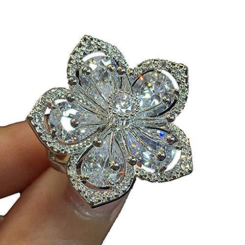 Potelin Women Rhinestones Stackable Finger Ring Flower Shaped Eternity Ring Romantic Elegant Durable and - Ring Romantic Flower Stackable