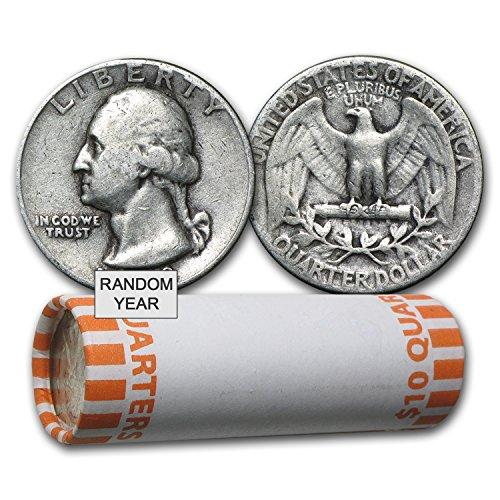 Washington Quarter Silver Coin (1932 - 1964 90% Silver Washington Quarters 40-Coin Roll Avg Circ Quarter Very Good)