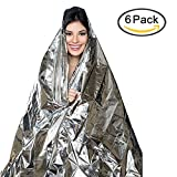 Emergency Thermal Blankets, Survival Reflective Survival Rescue Blanket with Waterproof and Windproof, up to 90% Heat Retention for Outdoors Survival,Camping,Hiking,Sports