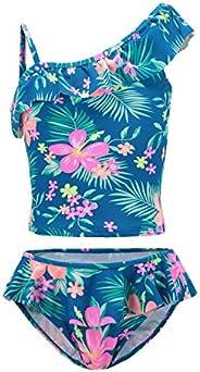 Girls Two Piece Bathing Suit Tankini Swimsuits Hawaiian Ruffle Swimwear