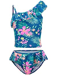 Big Girls Two Piece Tankini Swimsuit Hawaiian Ruffle Swimwear Bathing Suit Set Blue 10T