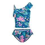 Girls Two Piece Bathing Suit Tankini Swimsuits Hawaiian Ruffle Swimwear
