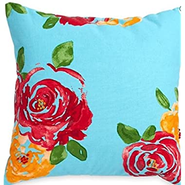 Decorative Rose Pillow 16x16 100% Cotton Canvas Face and Reverse Teal