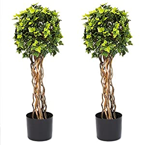 Pure Garden 30 Inch English Ivy Single Ball Topiary Tree - Set of 2 87