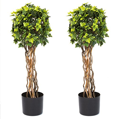 Pure Garden 30 Inch English Ivy Single Ball Topiary Tree - Set of 2 (Ball Ivy)