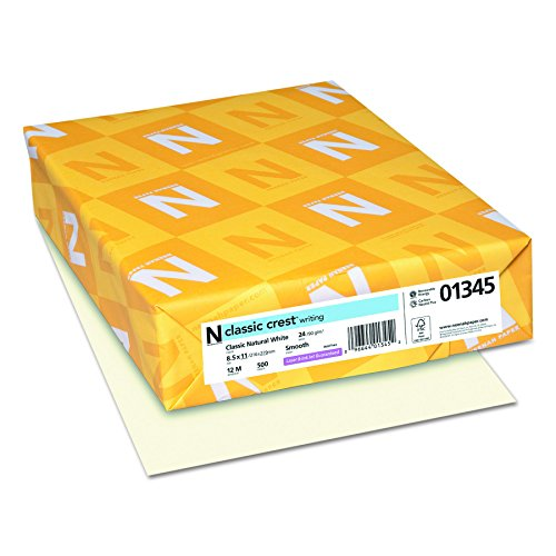 Envelopes Classic Crest Paper - Neenah Paper 01345 Classic Crest Premium Paper, 24 lb, 8.5 x 11 Inches, White, 500 Sheets per Ream, Classic Natural White