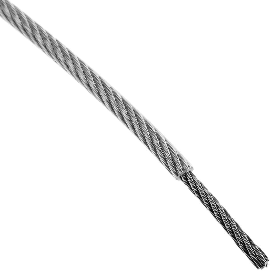 BeMatik - Cable de Acero Inoxidable de 2,0 mm. Bobina de 50 m. Recubierto de plástico Transparente