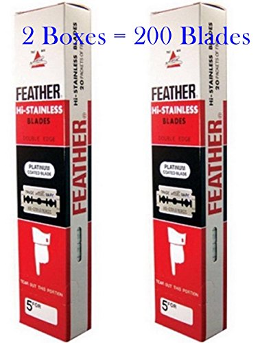 FEATHER Pack of 2 Boxes  Hi Stainless Platimum Coated Double