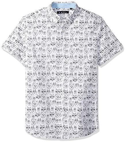 - Ben Sherman Men's SS Animal FACE PRNT Shirt, White XXL