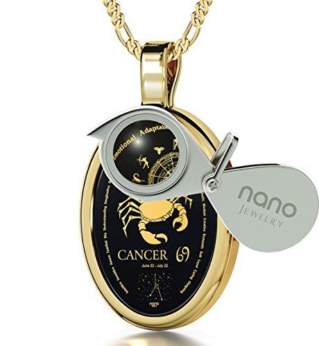 Pendentif Signe du Zodiaque - Collier Cancer avec Inscription en Or 24ct sur une Pierre Onyx, 45cm - Bijoux Nano