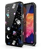 PBRO Samsung Galaxy A10E Case,Samsung A10E Case Cute Astronaut Case Dual Layer Soft Silicone & Hard Back Cover Heavy Duty PC+TPU Protective Shockproof Case for Galaxy A10E Space/Black