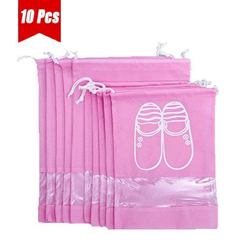 Dance Bag Clip - UQueen 10 pcs Travel Transparent Dustproof Non-woven Fabrics Drawstring Multifunctional Shoe Storage Bag Case Organizer with Visual Window(5 Large Size + 5 Medium Size,Pink)