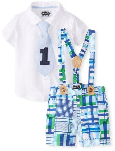Mud Pie Baby Boys' I'M One 3 Piece Set Madras Plaid Shorts Button Down and Tie Set, Multi, 12 18 Months -