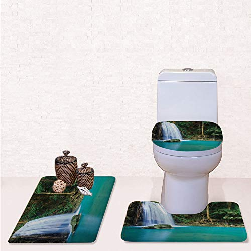 Comfort Flannel 3 Pcs Bath Rug Set,Contour Mat Toilet Seat Cover,Stream of a Secret Waterfall in The Forest Nature Like Heaven Fresh with Turquoise Green Brown,Decorate Bathroom,Entrance Door,Kitchen]()