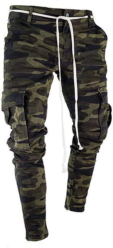 Men Camouflage Skinny Fit Cargo Jeans Casual Jogger with Pocket Wild Cargo Pants