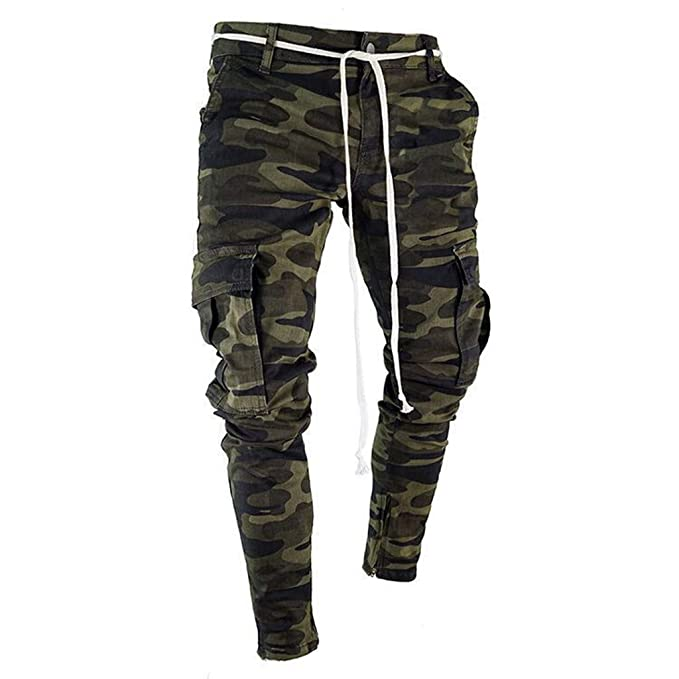 6187d3a5 2019 Cargo Pants for Men Camouflage Classic Drawstring Casual Jeans Cotton  Leg Stripe Outdoor Trousers by-Leggor at Amazon Men's Clothing store: