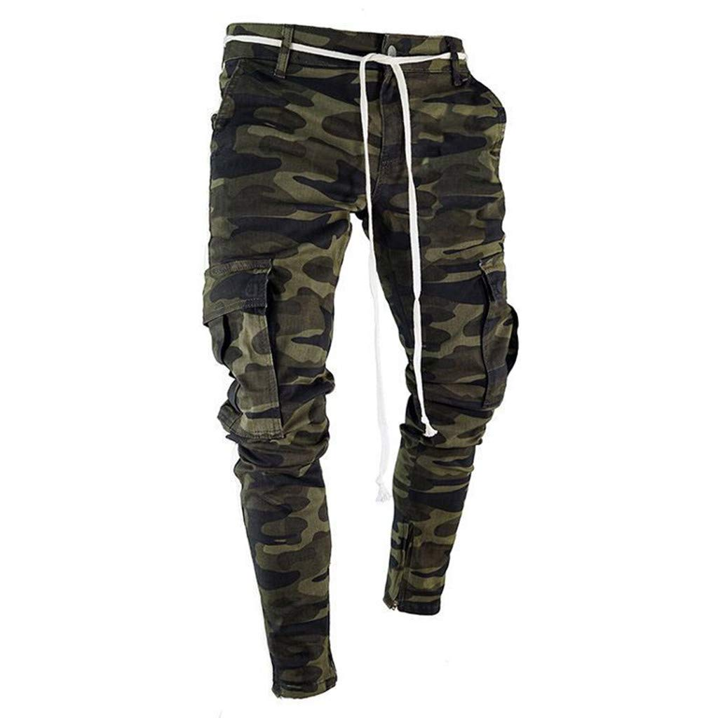 Connia Men Jeans Fashion Camouflage Pleated Ripped Skinny Stretch Zipper Slim Fit Trousers Pencil Pants